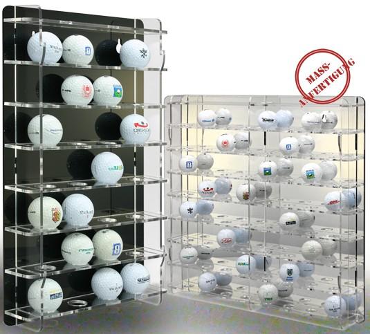 Golfballvitrine mit schwarzer und Golfballvitrine mit transparenter Rückwand Bild 1