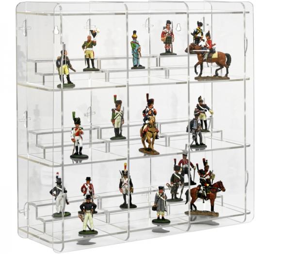 Zinnfiguren Vitrine mit Podesten mit transparenter Rückwand Bild 1
