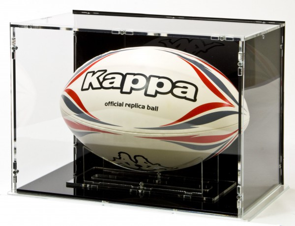 Rugbyball Vitrine mit schwarzem Boden und schwarzer Rückwand für Größe 5 Bild 1