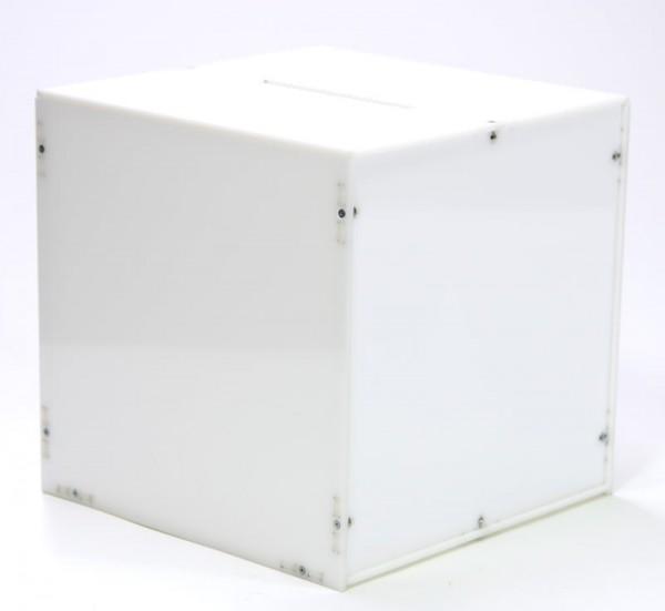 Losbox / Wahlurne 23 x 23 x 23 cm aus weißem Acrylglas